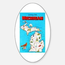 Michigan Map Greetings Decal