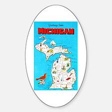 Michigan Map Greetings Sticker (Oval)