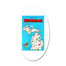 Michigan Map Greetings 20x12 Oval Wall Decal