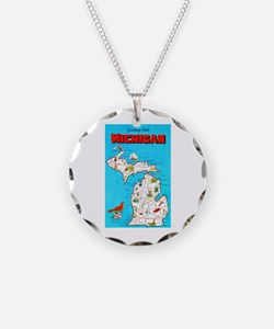 Michigan Map Greetings Necklace
