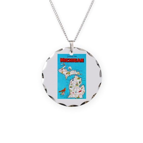 Michigan Map Greetings Necklace Circle Charm