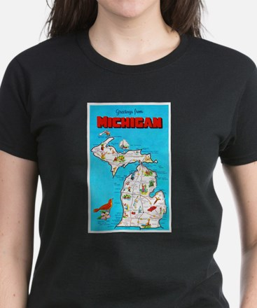 Michigan Map Greetings Women's Dark T-Shirt