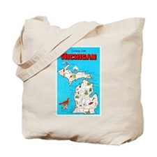 Michigan Map Greetings Tote Bag