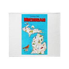 Michigan Map Greetings Throw Blanket