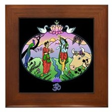Krishna and Radha Framed Tile