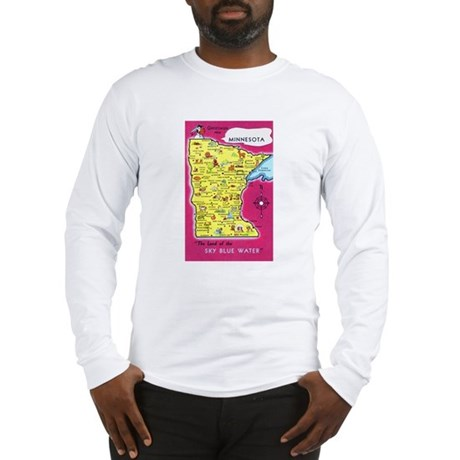 Minnesota Map Greetings Long Sleeve T-Shirt