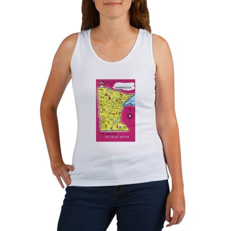 Minnesota Map Greetings Women's Tank Top