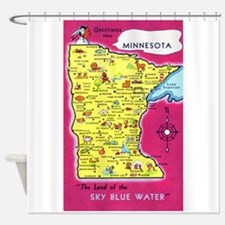 Minnesota Map Greetings Shower Curtain