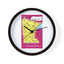 Minnesota Map Greetings Wall Clock