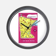 Minnesota Map Greetings Wall Clock