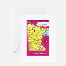 Minnesota Map Greetings Greeting Card