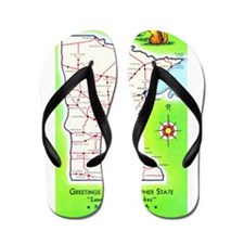 Minnesota Map Greetings Flip Flops
