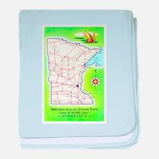 Minnesota Map Greetings baby blanket