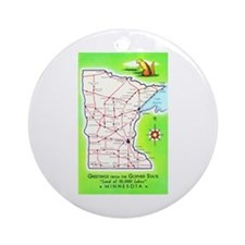 Minnesota Map Greetings Ornament (Round)