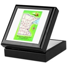Minnesota Map Greetings Keepsake Box