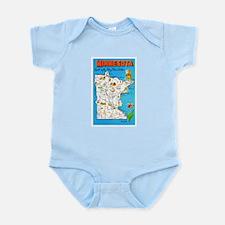 Minnesota Map Greetings Infant Bodysuit