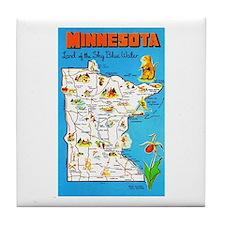 Minnesota Map Greetings Tile Coaster
