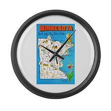 Minnesota Map Greetings Large Wall Clock