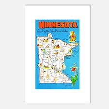 Minnesota Map Greetings Postcards (Package of 8)