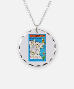 Minnesota Map Greetings Necklace