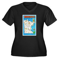 Minnesota Map Greetings Women's Plus Size V-Neck D