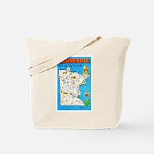 Minnesota Map Greetings Tote Bag