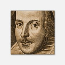 """Droeshout's Shakespeare Square Sticker 3"""" x 3"""""""
