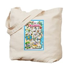 Wisconsin Map Greetings Tote Bag