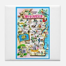 Wisconsin Map Greetings Tile Coaster