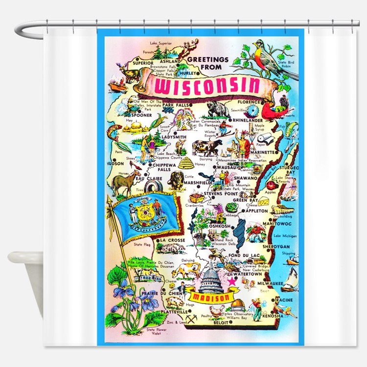 Wisconsin Map Greetings Shower Curtain