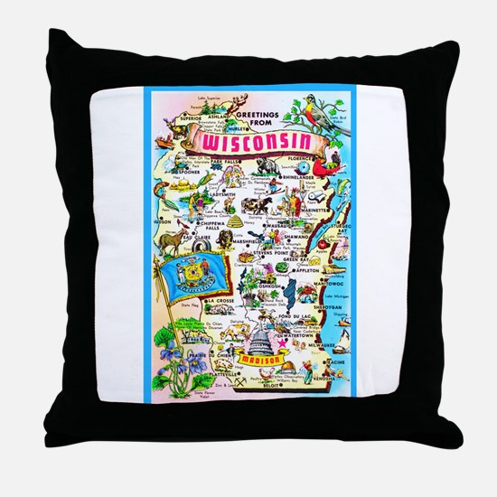 Wisconsin Map Greetings Throw Pillow