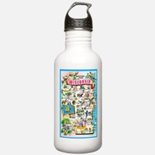Wisconsin Map Greetings Water Bottle