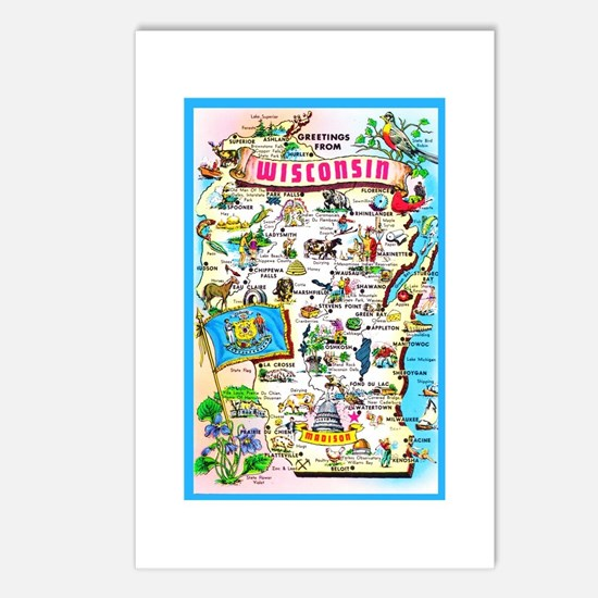 Wisconsin Map Greetings Postcards (Package of 8)