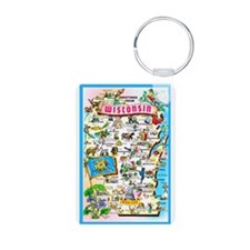 Wisconsin Map Greetings Keychains