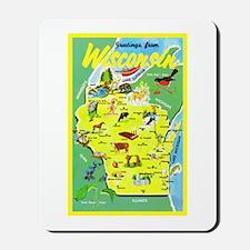 Wisconsin Map Greetings Mousepad