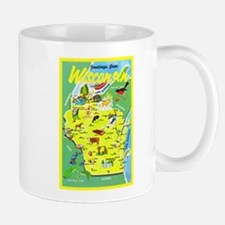 Wisconsin Map Greetings Mug