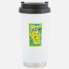 Wisconsin Map Greetings Stainless Steel Travel Mug