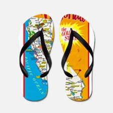California Map Greetings Flip Flops