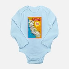 California Map Greetings Long Sleeve Infant Bodysu