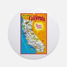 California Map Greetings Ornament (Round)