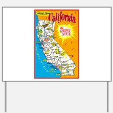 California Map Greetings Yard Sign