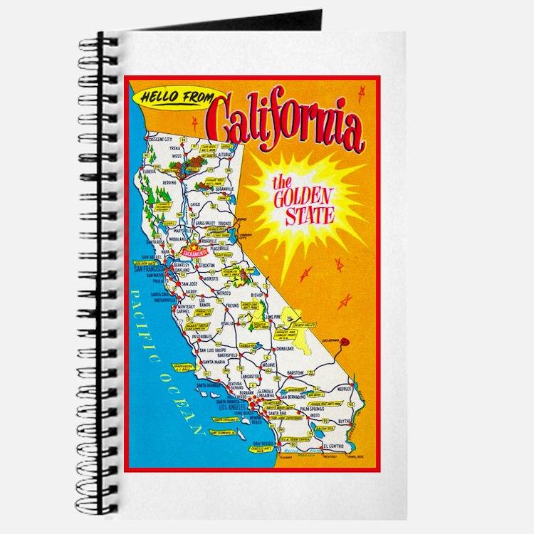 California Map Greetings Journal