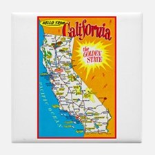 California Map Greetings Tile Coaster