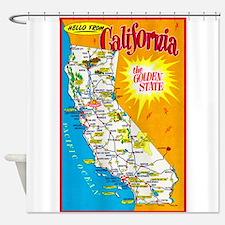 California Map Greetings Shower Curtain