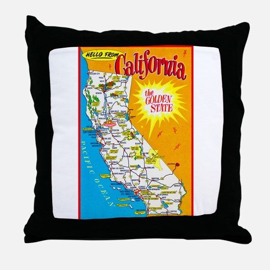 California Map Greetings Throw Pillow