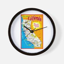 California Map Greetings Wall Clock