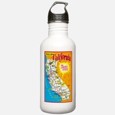 California Map Greetings Water Bottle