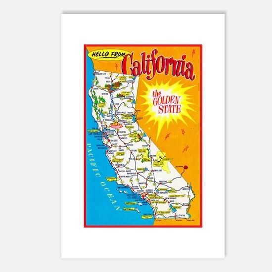 California Map Greetings Postcards (Package of 8)
