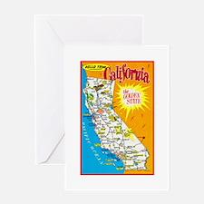 California Map Greetings Greeting Card
