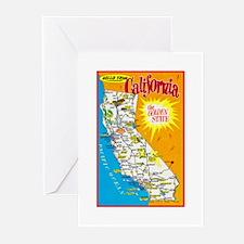 California Map Greetings Greeting Cards (Pk of 20)